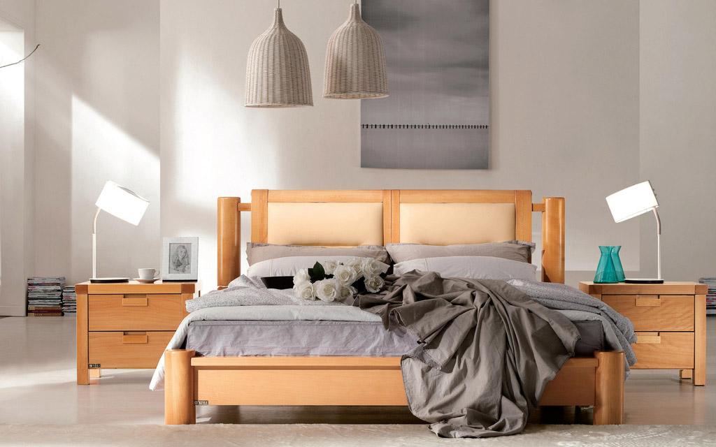 柚木双人床